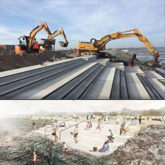 Die Wasserkante in Norddeich wird erneuert, Bild des aktuellen Baufortschritts und Visualisierung der fertigen Meeresterrasse